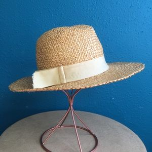 Vintage woven straw hat with ribbon band